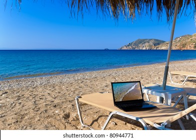 Beach with laptop