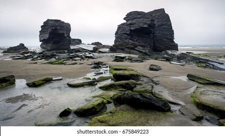 "Beach of ""Las Catedrales"", in Gijon (Spain). Picture of black rocks and rocks covered with moss, in the beach."