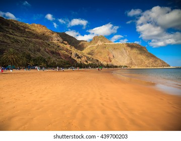 beach Las Teresitas with mountains on the background, Tenerife island, Spain