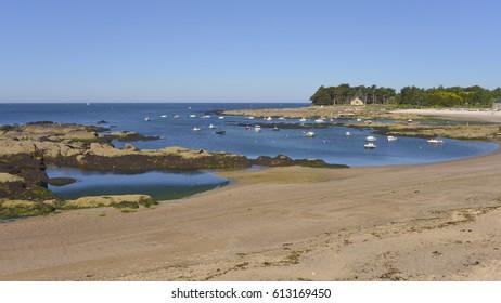 Beach of Lerat at Piriac-sur-Mer, a commune in the Loire-Atlantique department in western France