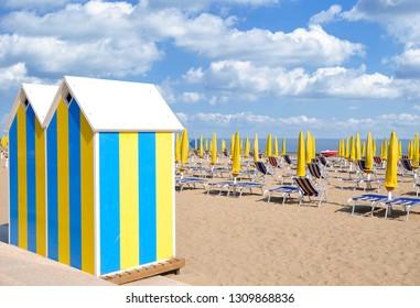 Beach of Lido di Jesolo at adriatic Sea,Veneto,Italy
