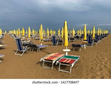 Beach of Lido di Jesolo at adriatic Sea in a beautiful summer day Italy