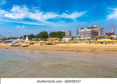 Beach of Lido di Jesolo at adriatic Sea in a beautiful summer day, Italy