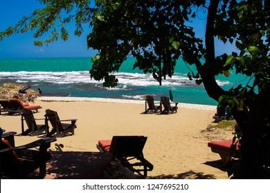 beach lies on isolated caribbean beach