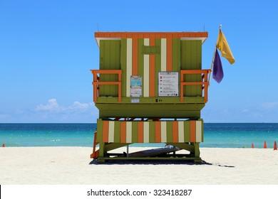Beach with lifeguard hut facing the ocean