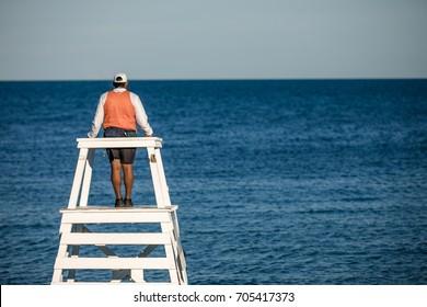 Beach lifeguard on duty