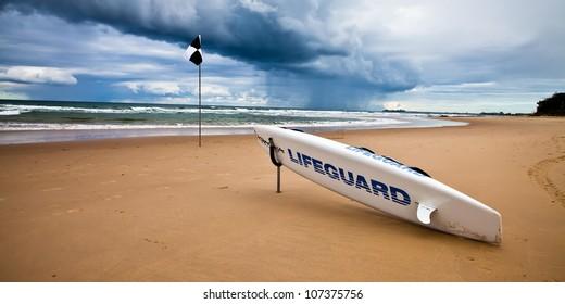Beach lifeguard surf board