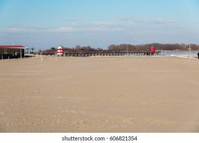 The beach of Lignano Sabbiadoro winter
