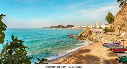 Beach in Lloret de Mar, Costa Brava, Catalonia, Spain.
