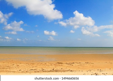 Beach at low tide in Kerkennah islands (the only place in Mediterranean sea with tides), Kerkennah islands, Tunisia