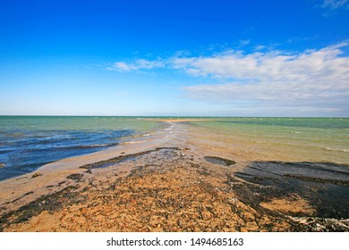 Beach at low tide in Kerkennah islands the only place in Mediterranean sea with tides), Tunisia