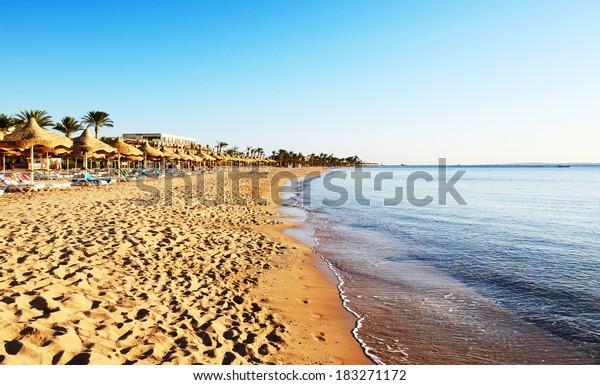 Beach at a luxury hotel, Sharm el Sheikh, Egypt