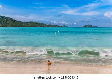 The beach in Magens Bay on St. Thomas - US Virgin Island. The Magens Bay is one of the most beautiful beaches in the world.
