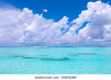 Beach in Maldives with blue sky background.