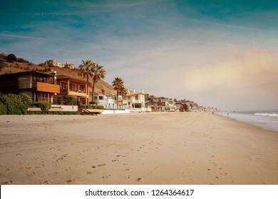 The beach of Malibu at sunset