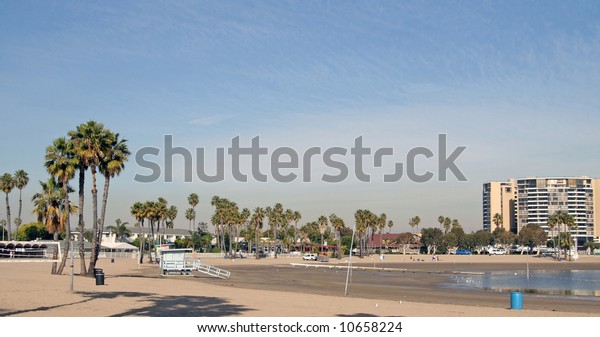 The Beach in Marina del Rey. Marina Del Rey in Los Angeles is the largest man-made small boat harbor in the world