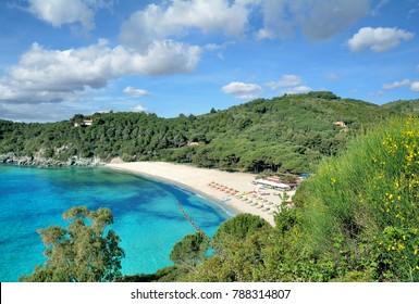 Beach of Marina di Campo called Fetovaia on Island of Elba,Tuscany,mediterranean Sea,Italy