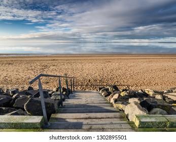 Beach marina in Hjerting wadden sea in Esbjerg, Denmark