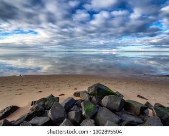 Beach marina in Hjerting wadden sea near Esbjerg, Denmark