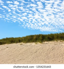 beach with marram grass in the background and a nice clouded sky