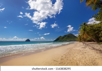 Beach in Martinique island, Caribbean. Le Diamont beach.