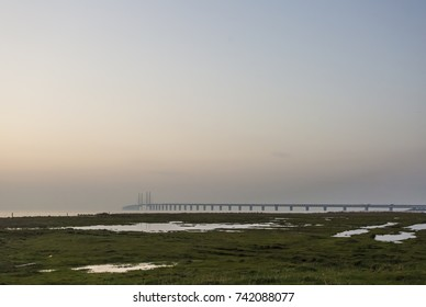 The beach meadow of Oresund and the Oresund bridge between Copenhagen Denmark and Malmo Sweden in the background when sunset in October