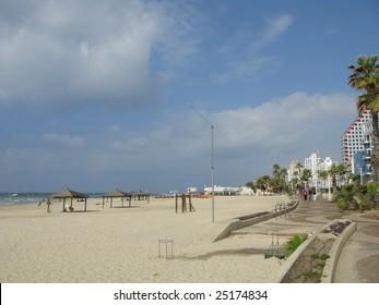 beach of Mediterranean sea inTel Aviv  Israil