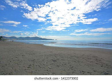 beach of Meia Praia itapema in Santa Catarina, border of the city, sea of the state of Santa Catarina, largest polo of tourist sights of the state, beach clean and well populated with beautiful buildi