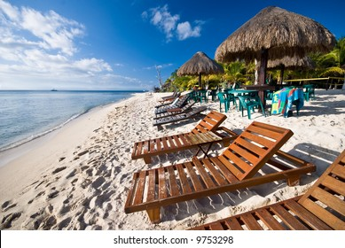 A beach in the Mexican Caribbean in the island of Cozumel.