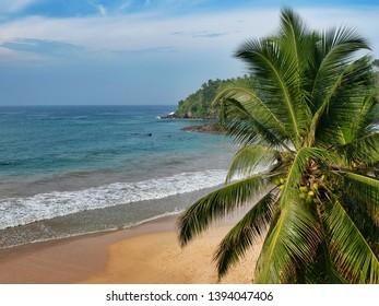 Beach in Mirissa. View from the Paradise Beach Club Hotel. Sri Lanka, March 16, 2019