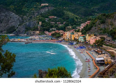 The beach in Monterosso al Mare, La Spezia, Liguria Italy. Monterosso is the westernmost of the Cinque Terre, a national park protected by Unesco.