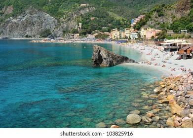 Beach of Monterosso in Cinque Terre (Italy)