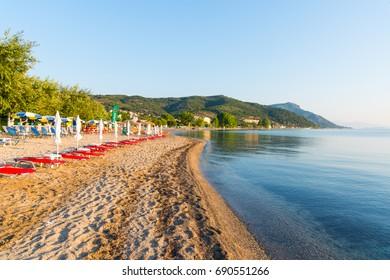 Beach of Moraitika village. Greece. Corfu. Moraitika village. 20.07.2017