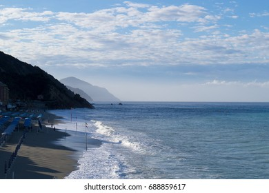 Beach in the morning at Rapallo Italy