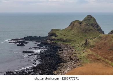 Beach and Mountains in Giant Causeway, Bushmills, Northern Ireland,UK