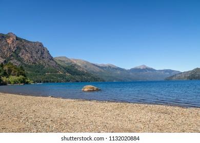 Beach at Nahuel Huapi Lake in downtown Bariloche - Bariloche, Patagonia, Argentina