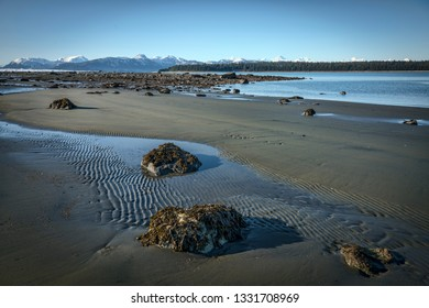 Beach near Bartlett Cove in Glacier Bay National Park at low tide.