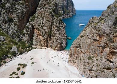 The beach near the bay of Sa Calobra in Mallorca