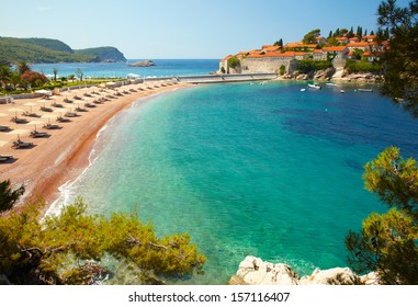 Beach near the island Sveti Stefan. Montenegro