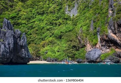 Beach Near the Secret Lagoon on Miniloc Island in the El Nido Archipelago, Palawan, Philippines