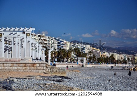 Beach Nice France Modern Architecture February Stock Photo Edit Now