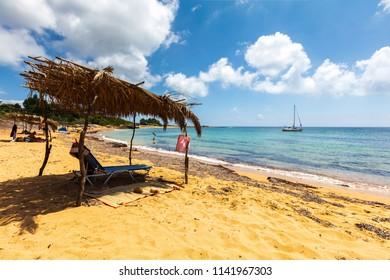 Beach of nice orange sand on an Ioanian island