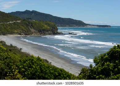 beach north of Greymouth from the famous Coast Road, New Zealand