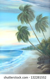 beach : oil color painting