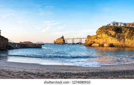 Beach of the Old Harbor with Virgin Mary Rock in the background. Biarritz, Basque country of France.