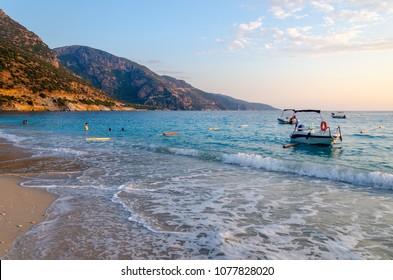 beach in Oludeniz during sunset, Turkey