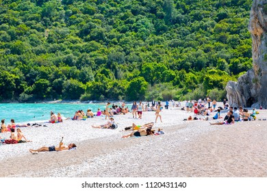 The beach at Olympos, on Turkey's Mediterranean coast, is known as Olympos beach and is popular with backpackers drawn to its tree-house hostels. April 2018 Antalya