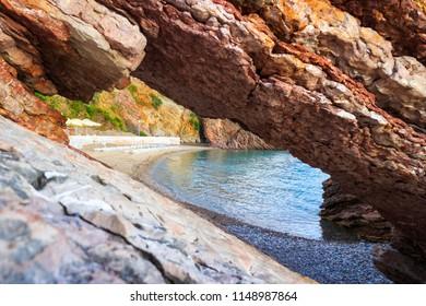 Beach on Adriatic sea coastline near Budva city in Montenegro, gorgeous seascape.