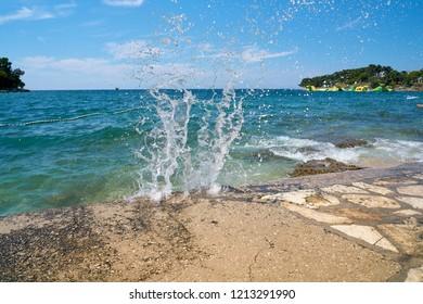Beach on the Adriatic Sea at the resort Zelena Laguna near Porec in Croatia