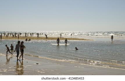 Beach on the Atlantic coast of France, Aquitaine, Lacanau-Ocean